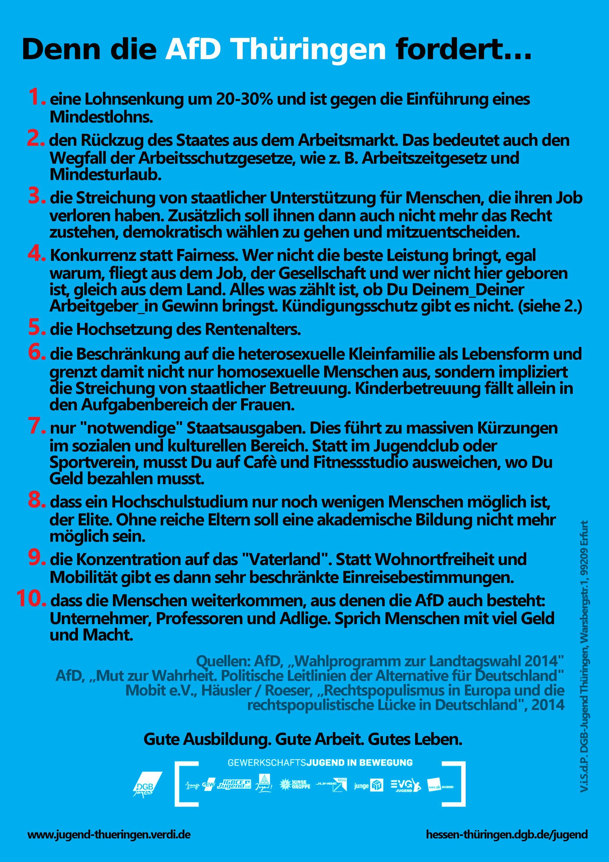 AfD-Flyer der DGB-Jugend Rückseite