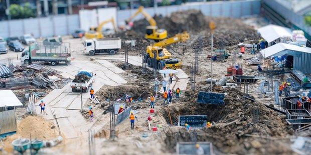 Baustelle Arbeiter Bauen