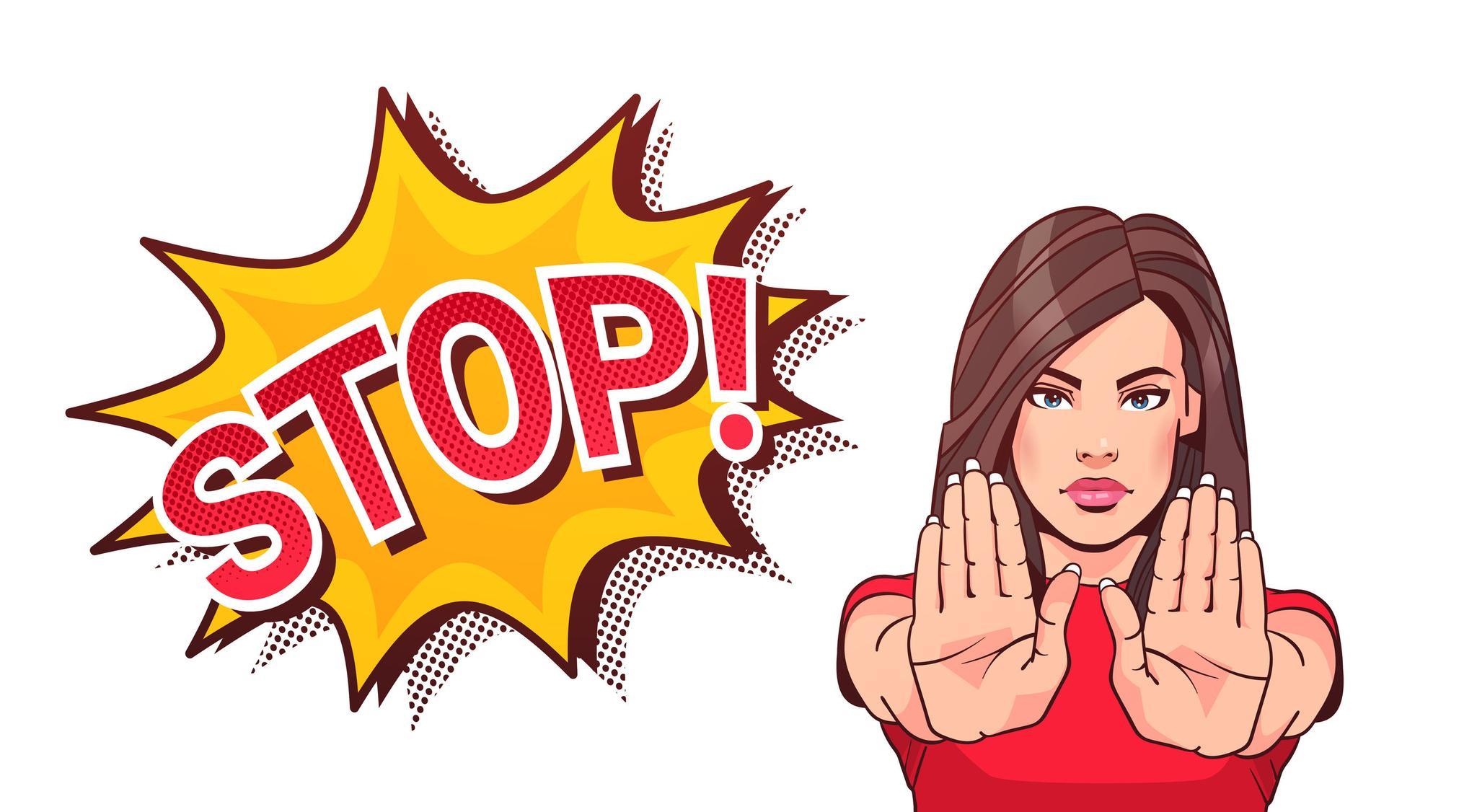 Comic Stop Gewalt von Frauen