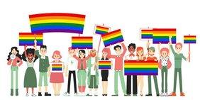 Zeichnung mit Figuren, die Regenbogenfahnen tragen