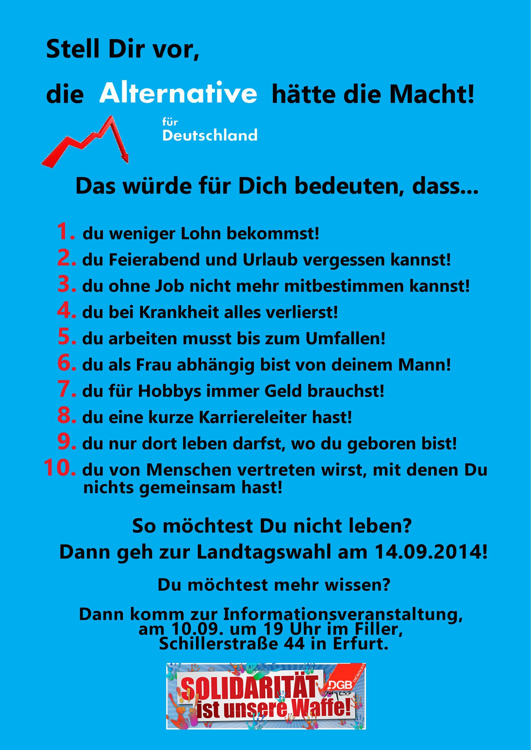 AfD-Flyer der DGB-Jugend vorderseite